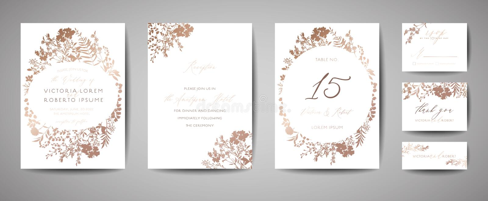 Luxury Wedding Save the Date, Invitation Cards Collection with Gold Foil Flowers and Leaves and Wreath. Vector trendy cover royalty free illustration