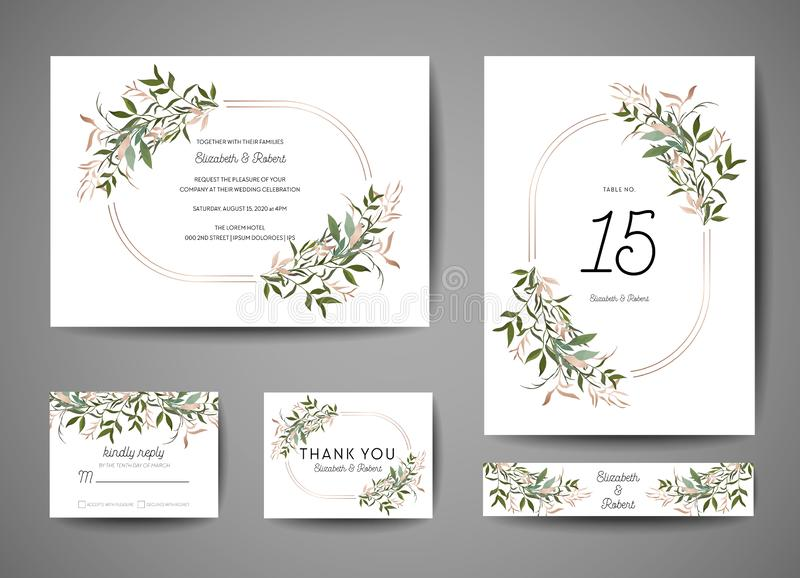Luxury Wedding Save the Date, Invitation Cards Collection with Gold Foil Leaves and Wreath. trendy cover, graphic poster vector illustration