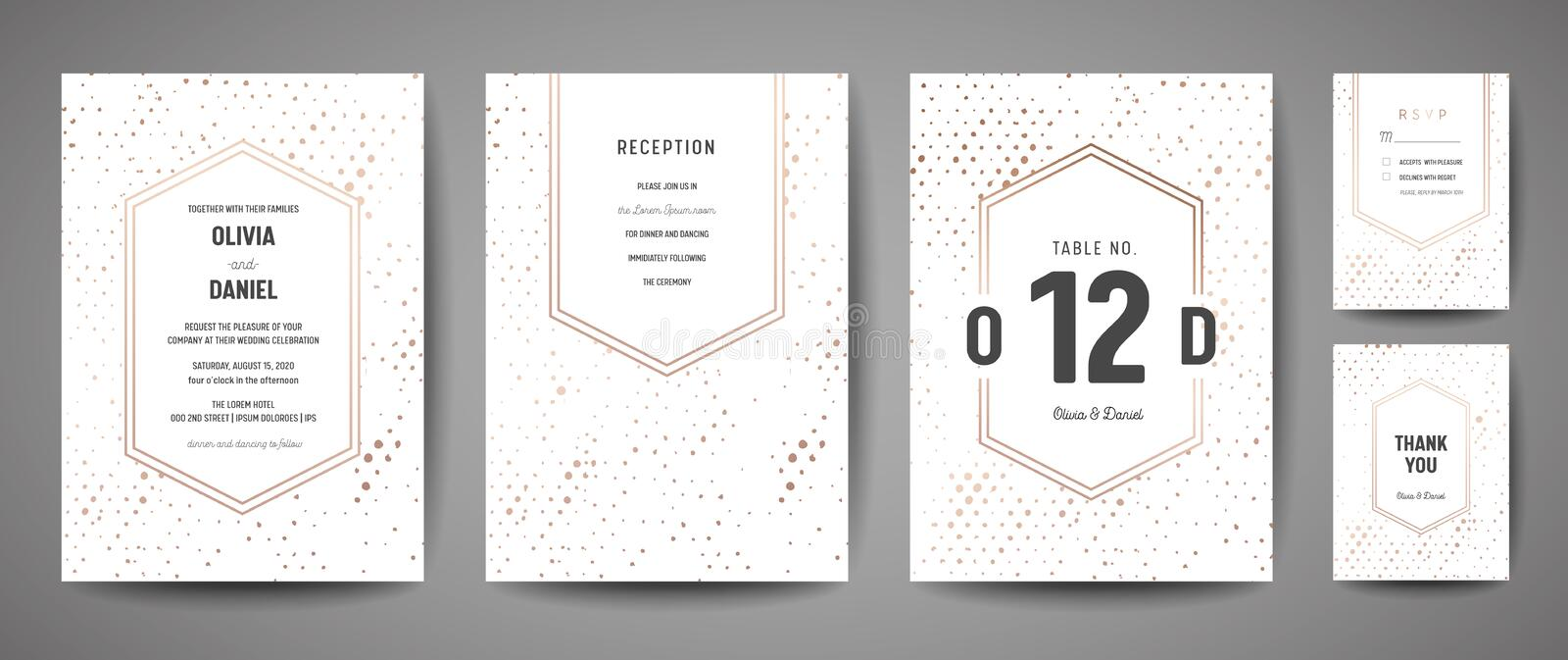 Luxury Wedding Save the Date, Invitation Cards Collection with Gold Foil Polka Dots and Monogram Logo design template vector illustration