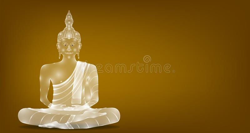 Luxury white glass monk phra buddha sitting for pray concentration composed release. colorful background.  illustration stock illustration