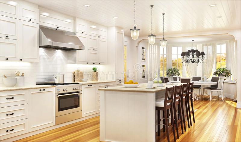 Luxury white kitchen and dining room in a large beautiful house royalty free stock image