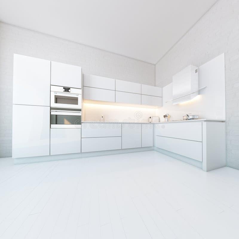 Luxury White Kitchen In Hi-Tech Style royalty free illustration