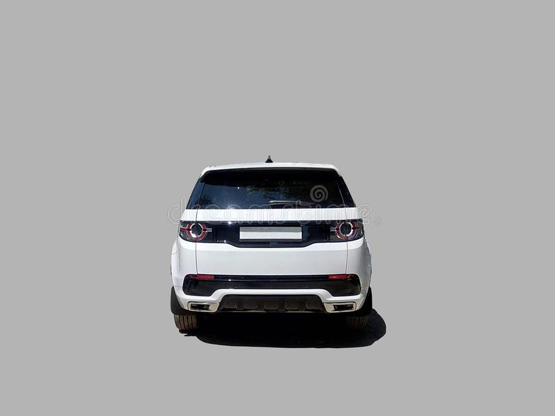 Luxury white SUV car rear view stock image