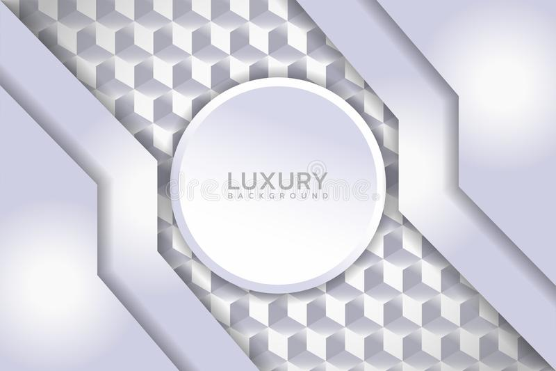 Luxury white textured background with 3d overlap shape. Elegant vector background stock illustration