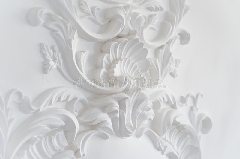 Download Luxury White Wall Design Bas Relief With Stucco Mouldings Roccoco Element Stock Image