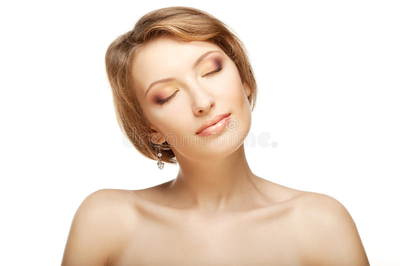 Luxury woman with a beautiful makeup. Image of luxury woman with a beautiful makeup royalty free stock photo