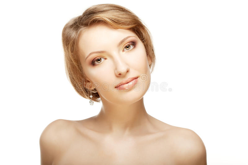 Luxury woman with a beautiful makeup. Image of luxury woman with a beautiful makeup royalty free stock photos