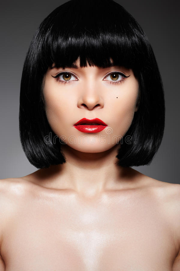 Luxury Woman With Fashion Make Up Amp Bob Hairstyle Stock