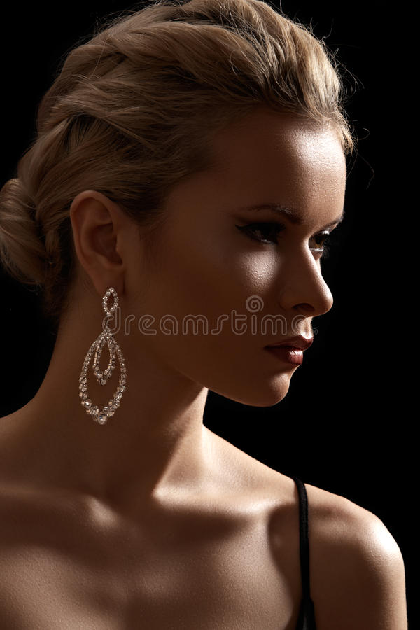 Luxury woman model, fashion chic jewelry, neckline royalty free stock photos
