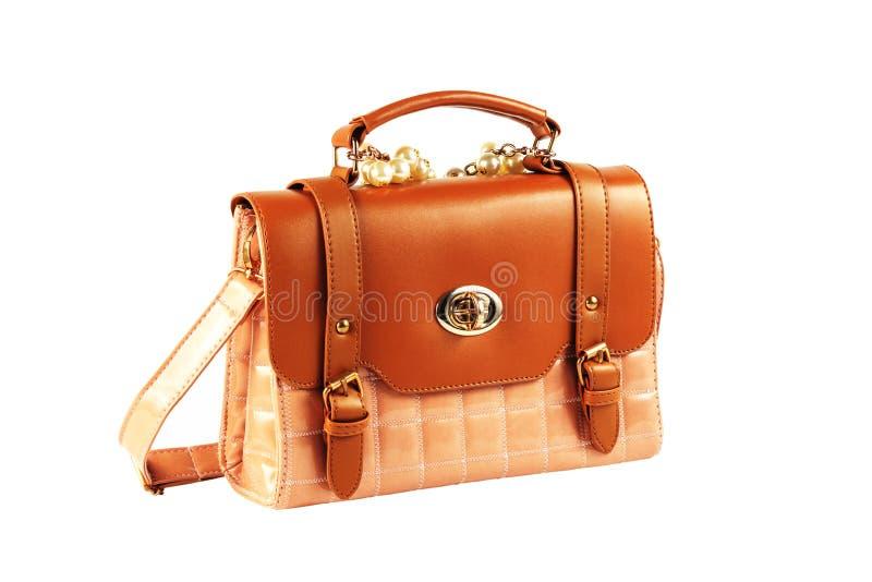 Luxury women bag. Isolated over white stock photos