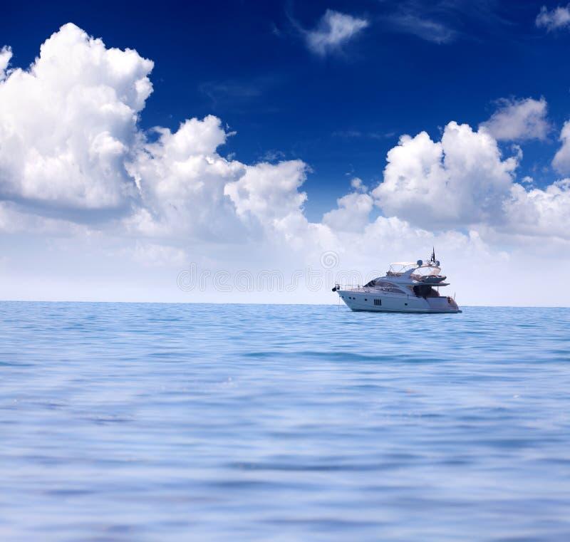 Luxury yacht. Summer seascape with luxury yacht stock photo