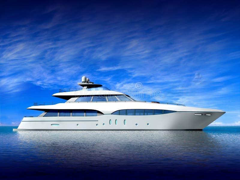 Luxury Yacht. On blue background