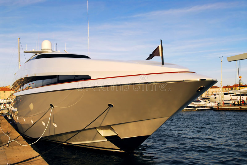 Luxury yacht. Large luxury yacht anchored at St. Tropez in French Riviera stock images