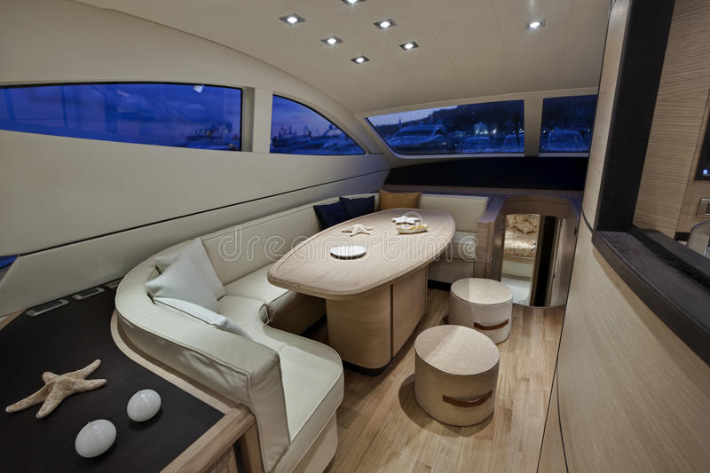 Luxury yacht, dinette, Abacus 62 ' royalty free stock photo