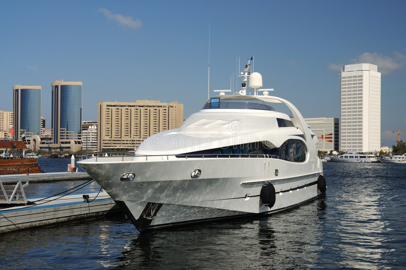 Luxury Yacht at Dubai Creek royalty free stock images