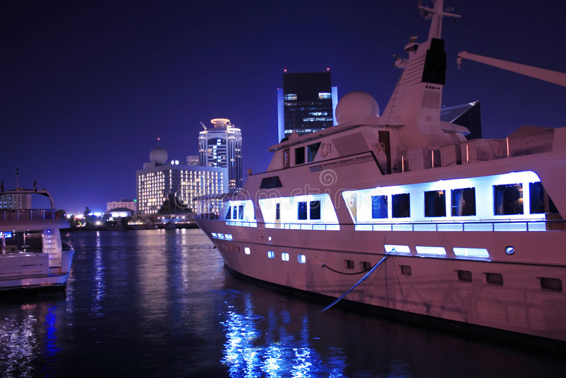 Luxury yacht in Dubai Creek, united arab emirates royalty free stock photo