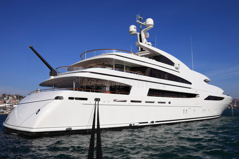 Luxury yacht in harbor royalty free stock image