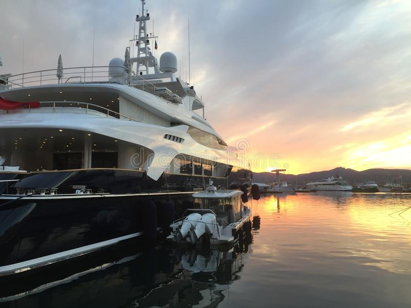 Luxury yacht in the harbor of Saint Tropez royalty free stock photo