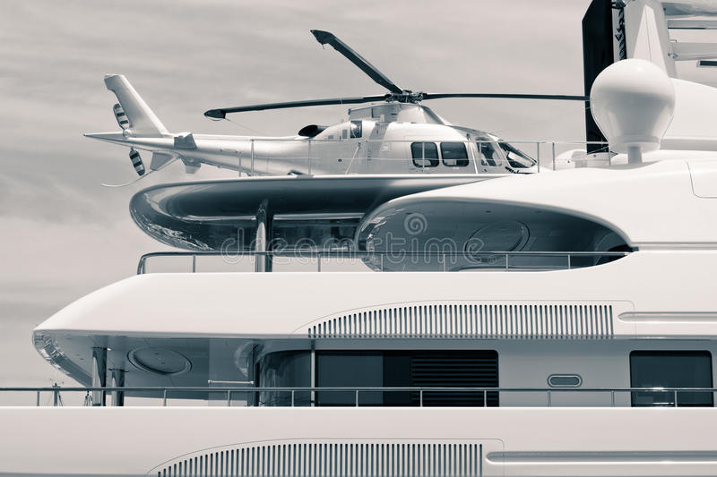 Luxury Yacht With Helicopter On The Roof Royalty Free Stock Photos
