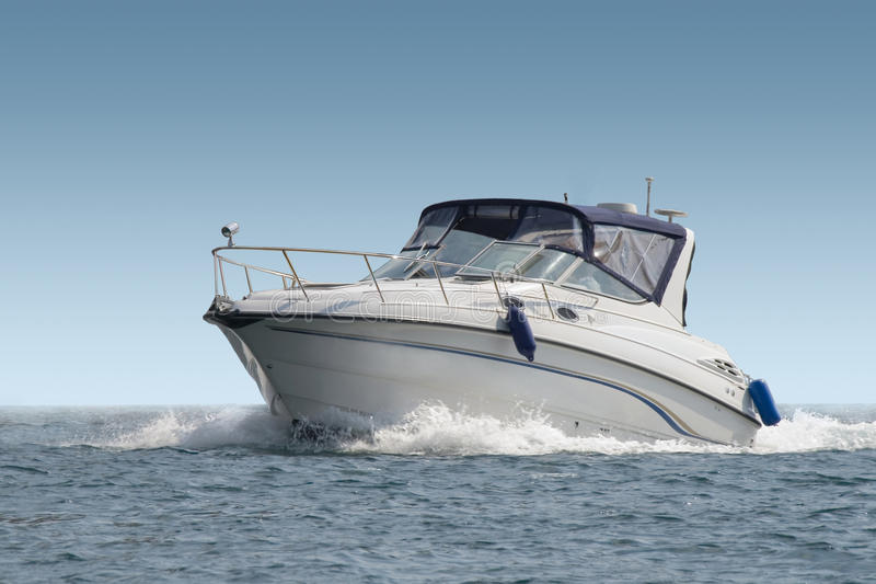 Luxury yacht with horizon line. In the ocean royalty free stock photography