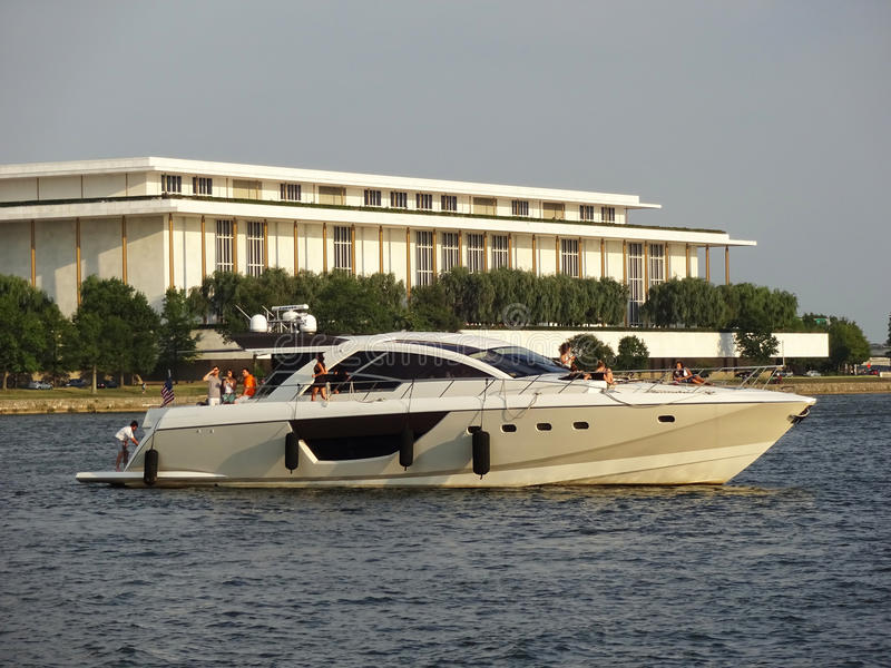 Luxury Yacht and Kennedy Center stock photo