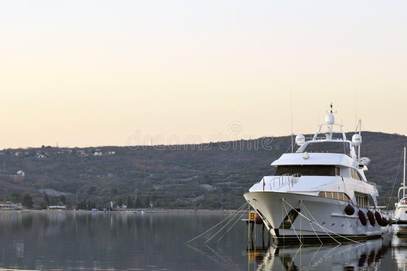 Luxury yacht in the marina royalty free stock image