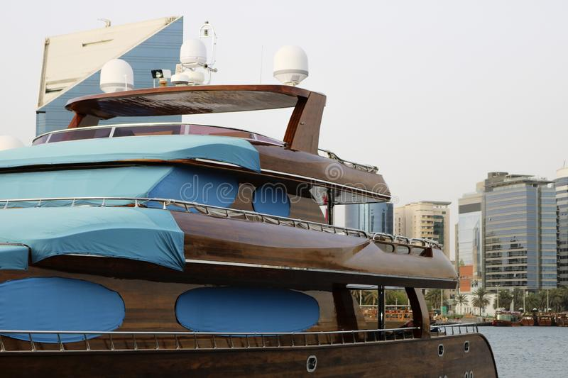 Luxury Yacht moored in a harbour of Dubai. royalty free stock images