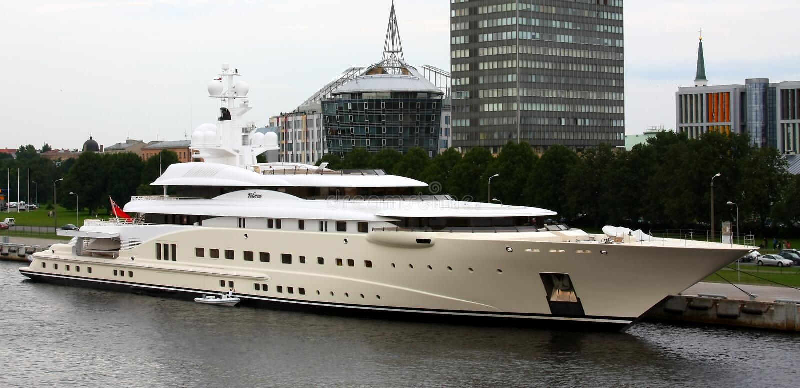 Luxury yacht Pelorus stock photo