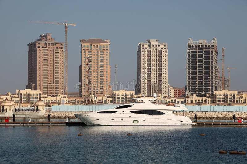 Download Luxury Yacht In Porto Arabia, Doha Stock Image - Image of port, reflection: 28292771