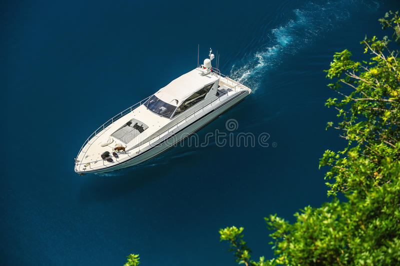 Luxury yacht sailing in Mediterranean Sea near French Riviera royalty free stock images