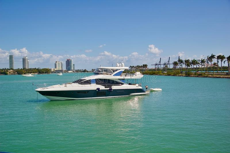 Luxury Yacht Sailing in Miami, Florida. Luxury yacht sailing on the ocean in Miami, Florida stock image