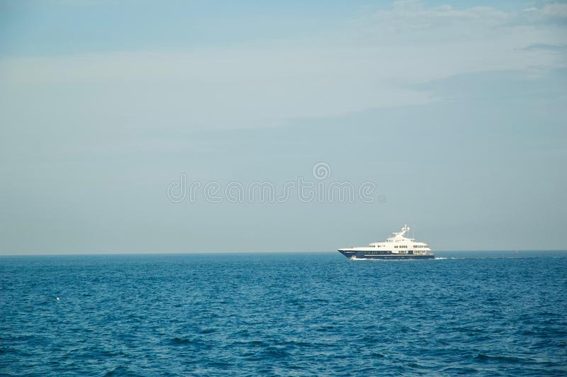 Luxury Yacht Sailing the Ocean in Newport, Rhode Island. stock images