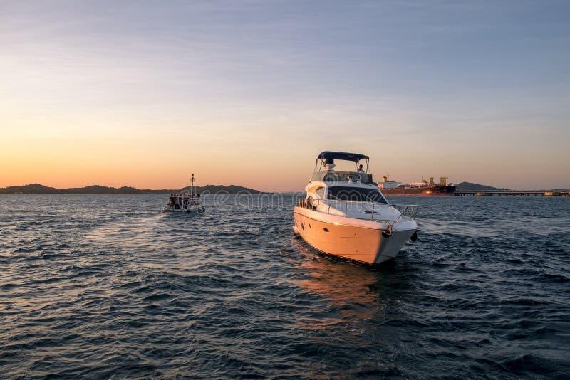 Luxury yacht in Todos los Santos Bay in Salvador de Bahia royalty free stock photo