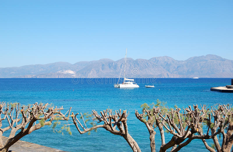 Luxury yacht, turquoise Aegean Sea and cut trees