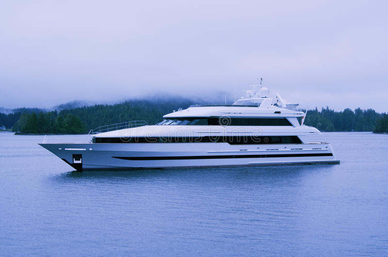 Luxury Yacht in UNESCO Biosphere Reserve royalty free stock image
