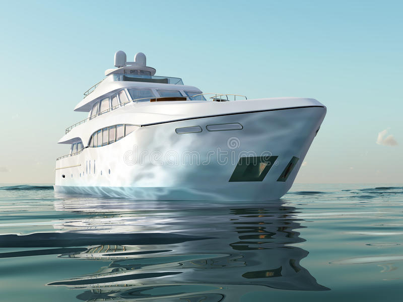 Luxury yacht on water. Surface royalty free stock photos