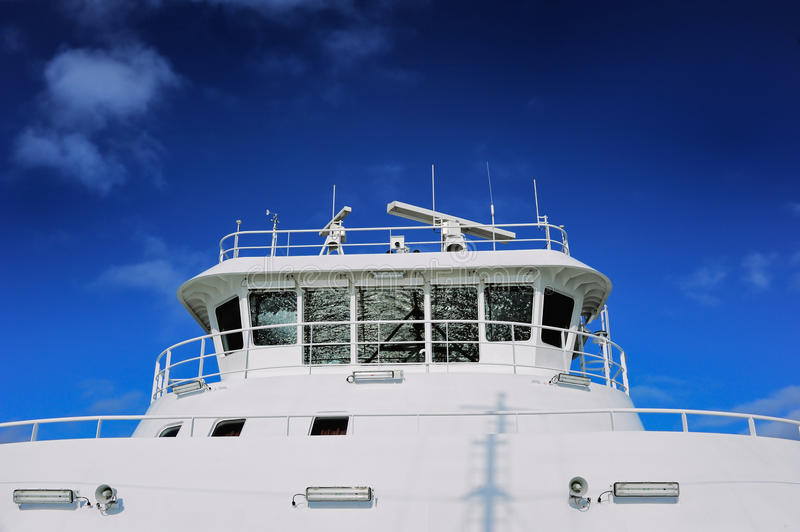 Luxury yacht. White yacht under deep blue sky royalty free stock images