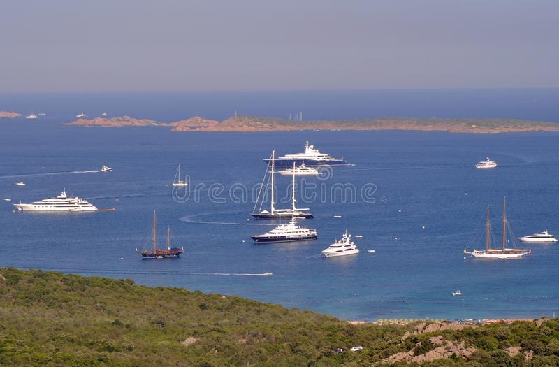 Luxury yachts anchored in the bay stock image