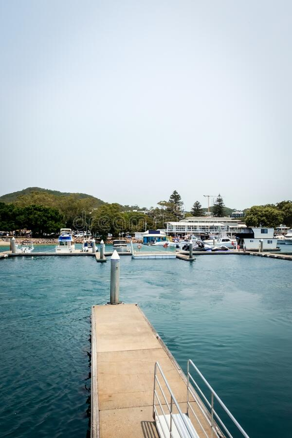 Free Luxury Yachts And Fishing Boats Parked With A Concrete Walkway At Pier Of Nelson Bay Royalty Free Stock Image - 170058586