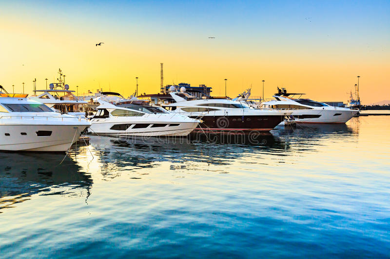 Luxury yachts docked in sea port at sunset. Marine parking of modern motor boats and blue water. Travel and fashionable vacation stock image