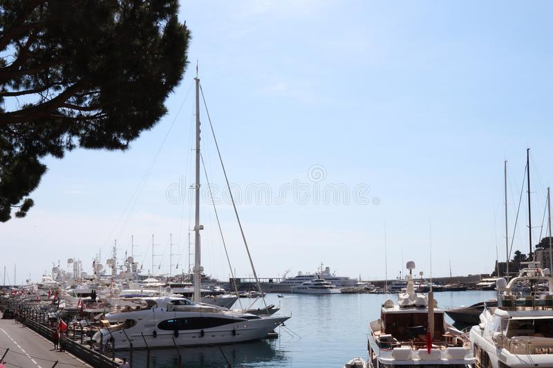 Luxury yachts in the Monaco harbour stock images