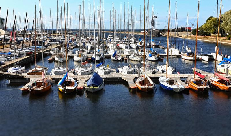 Luxury Yachts Sea Summer Boat in harbor Port of Tallinn Estonia 21,07,2019 travel to Baltic state tourism jahting. Club stock photography