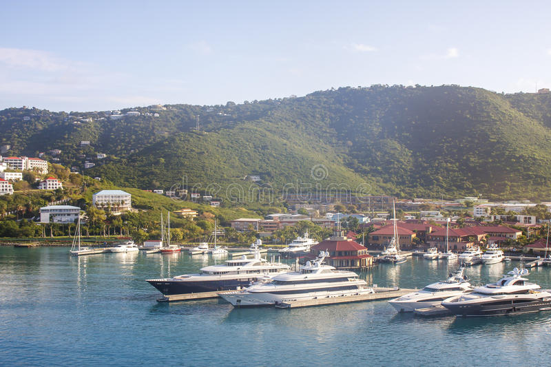 Download Luxury Yachts In Tropical Harbor Stock Photo - Image: 25479472