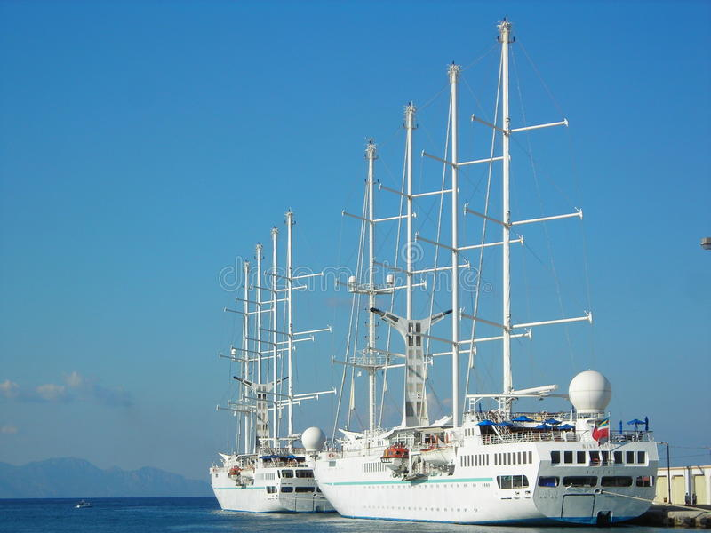 Luxury yachts at the wharf in the harbor of Rhodes. stock photography