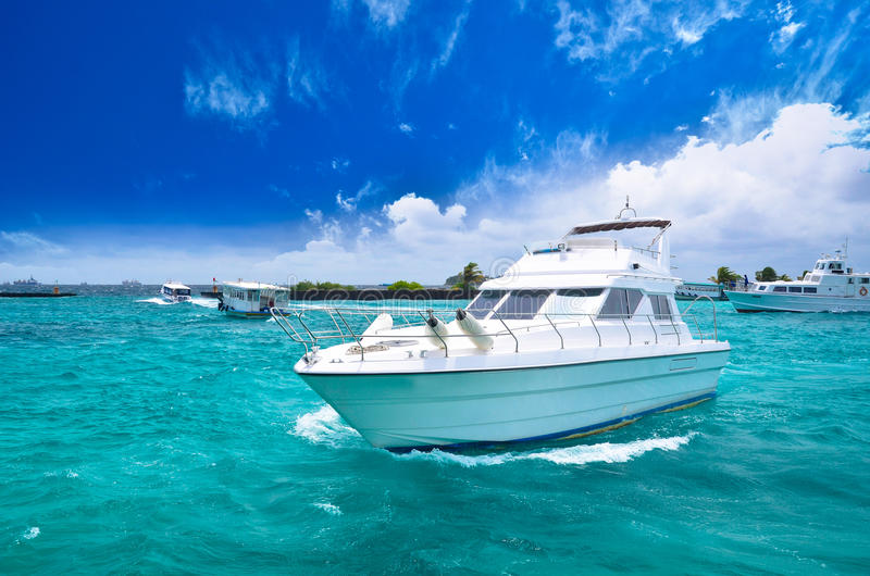 Luxury yatch in beautiful ocean royalty free stock photo