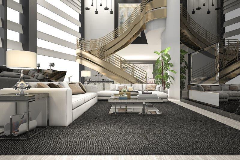 Luxus Der Wiedergabe 3d Und Modernes Wohnzimmer Mit Goldener Treppe ...