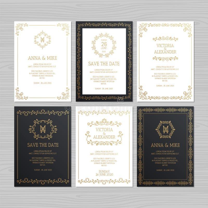 Luxus- Hochzeitseinladungs- oder -grußkartensatz mit Blumen-ornam stock abbildung