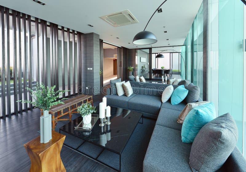 Luxus- moderner Wohnzimmerinnenraum und Dekoration, Innen-desi stockfotografie