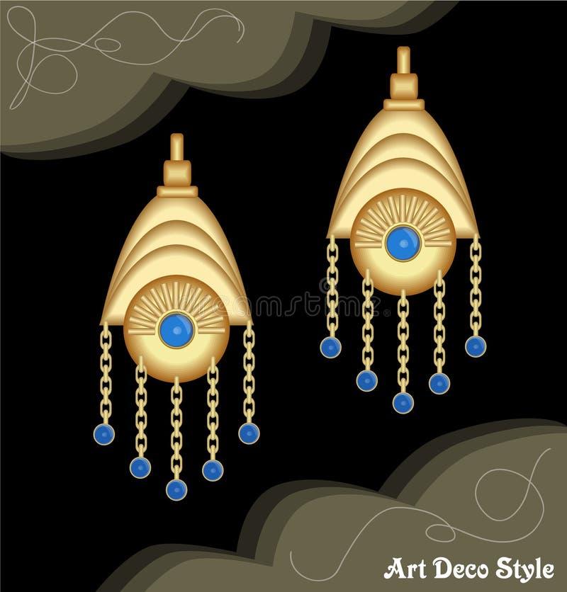 Luxusart- decomit Filigran geschmückte Kettenohrringe, Juwel mit kleinem blauem Saphir, antiker eleganter Goldschmuck, Mode herei vektor abbildung