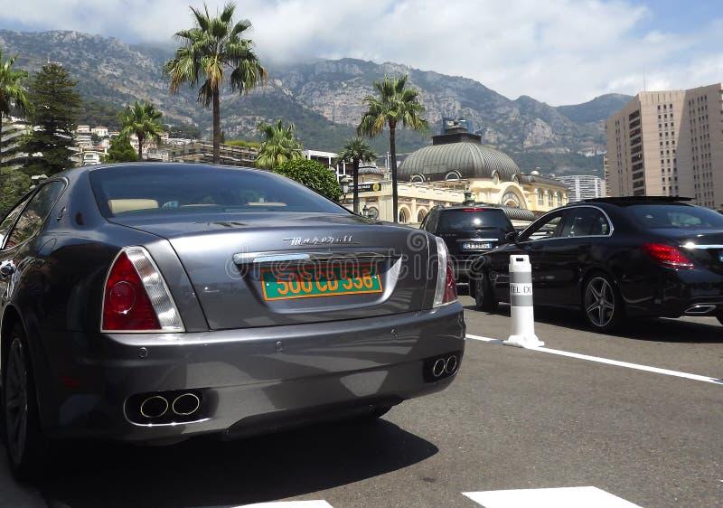 Luxusautos in Monte Carlo, Monaco stockbild